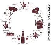 romantic symbols arranged in a... | Shutterstock .eps vector #775165150