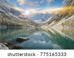 snow winter mountain lake... | Shutterstock . vector #775165333