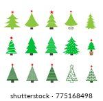 christmas trees icons set.... | Shutterstock .eps vector #775168498