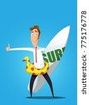 smiley cartoon businessman... | Shutterstock .eps vector #775176778