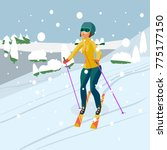 pretty young woman skiing in... | Shutterstock .eps vector #775177150