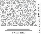 cakes and cookies banner with... | Shutterstock .eps vector #775182610