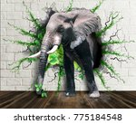 elephant coming out of the wall.... | Shutterstock . vector #775184548
