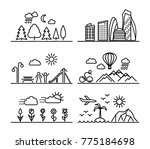 set of linear landscapes with... | Shutterstock . vector #775184698