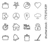 thin line icon set   purse  24...