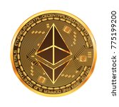 crypto currency golden coin... | Shutterstock .eps vector #775199200