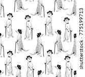 seamless pattern   gentleman...   Shutterstock .eps vector #775199713