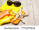 holiday at sea. towels ... | Shutterstock . vector #775207816