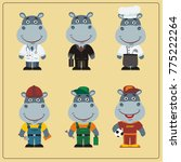 set of hippo in different... | Shutterstock .eps vector #775222264
