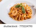 Pasta With Shrimp On Plate
