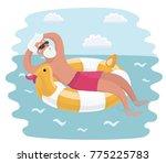 vector cartoon funny... | Shutterstock .eps vector #775225783