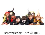 kids with face paint and... | Shutterstock . vector #775234810