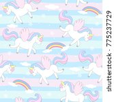 cute hand drawn unicorn vector... | Shutterstock .eps vector #775237729
