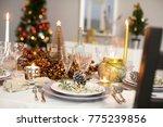 table setting for christmas...   Shutterstock . vector #775239856