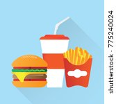fast food.burger fries cola | Shutterstock .eps vector #775240024