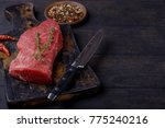 beef steak with thyme and... | Shutterstock . vector #775240216
