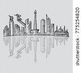 sketchy of jakarta skyline.   Shutterstock .eps vector #775254820