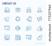 contact us thin line icons set... | Shutterstock .eps vector #775257964