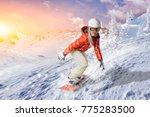 snowboarder in orange hoodie... | Shutterstock . vector #775283500