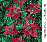 winter plant poinsettia flower... | Shutterstock . vector #775285378