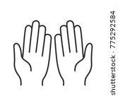 muslim praying hands linear... | Shutterstock . vector #775292584