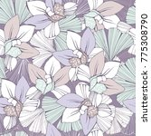 seamless pattern with orchids... | Shutterstock .eps vector #775308790