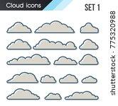 set of cartoon clouds on a