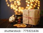 vintage christmas gift box...   Shutterstock . vector #775321636