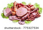 variety of dry cured sausage... | Shutterstock . vector #775327534