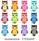 Stock vector vector cartoon of different night owls a set of cute and colorful icon collection isolated on 77533345