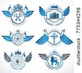 heraldic emblems with wings...   Shutterstock .eps vector #775344298