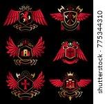collection of vector heraldic... | Shutterstock .eps vector #775344310