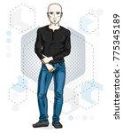 happy bald young adult man... | Shutterstock .eps vector #775345189