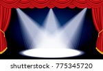 opened stage with red curtain... | Shutterstock .eps vector #775345720