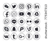 collection of popular social...   Shutterstock . vector #775347313