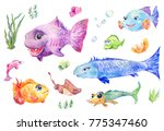 cartoon funny set of fishes ... | Shutterstock . vector #775347460