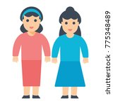 sisters standing side by side     Shutterstock .eps vector #775348489
