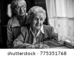 an elderly woman sitting at the ... | Shutterstock . vector #775351768