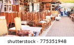 athens  greece. vintage chairs... | Shutterstock . vector #775351948