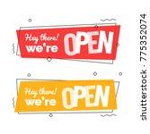we' re open text on banner in... | Shutterstock .eps vector #775352074