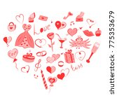 hand drawn set of valentine's... | Shutterstock .eps vector #775353679
