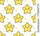 seamless pattern with cute star.... | Shutterstock .eps vector #775363774