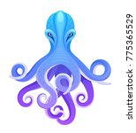 blue octopus on a white... | Shutterstock .eps vector #775365529