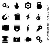 origami style icon set   gears...