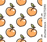 cute pattern with peach on a... | Shutterstock .eps vector #775375390