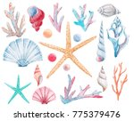 watercolor set of isolated... | Shutterstock . vector #775379476