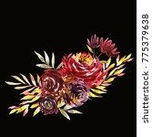 flowers watercolor illustration.... | Shutterstock . vector #775379638