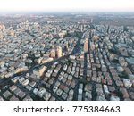 Rishon Lezion city center top aerial view