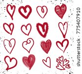 hand drawn hearts. design... | Shutterstock .eps vector #775407910