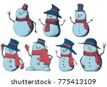 hand drawn snowman isolated set | Shutterstock .eps vector #775413109